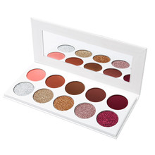 Fashionable And Shining OEM 10 Colors Glitter Eye Shadow Palette Customized Eye Cosmetics