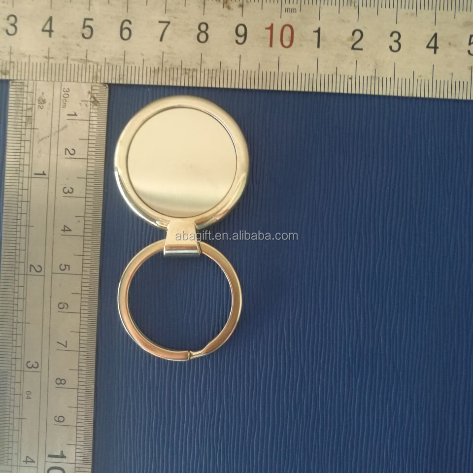 Round shape silver plated key chain metal split key ring