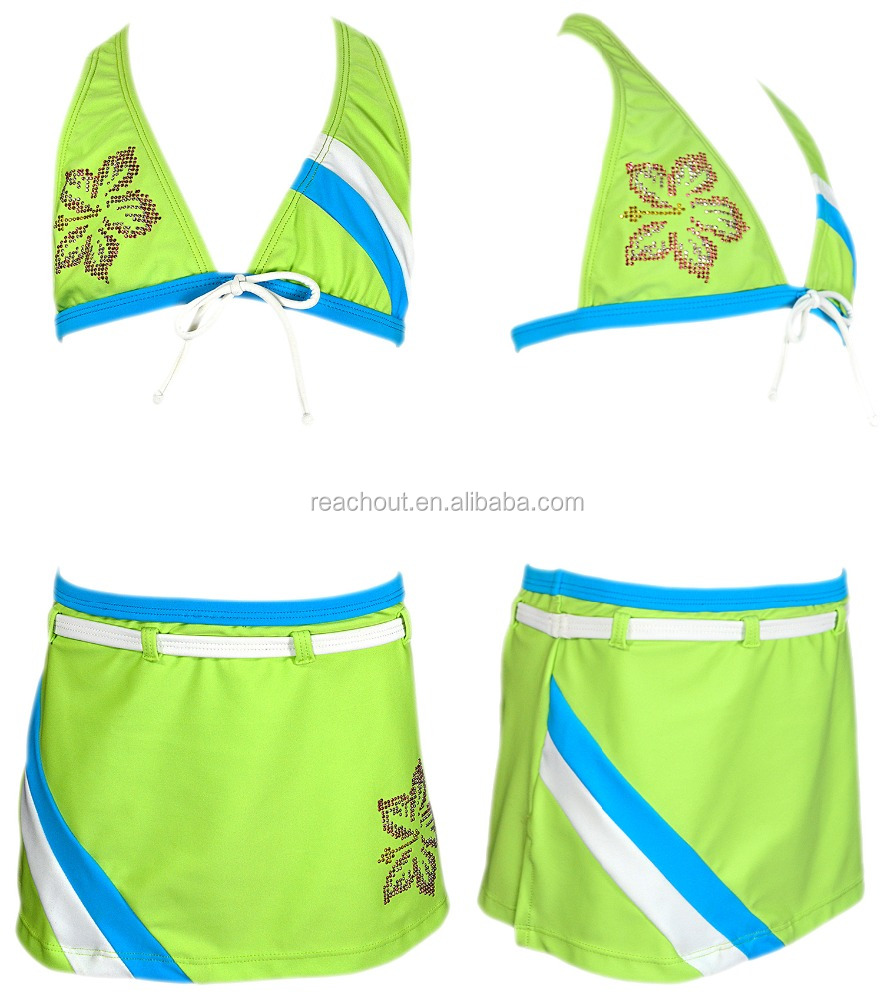TOTS GIRLS TWO PIECES HALTER BIKINI SWIMWEAR SHINY STUDS SOLID WHITE LIME TURQUOISE COLOR BELT SKIRT