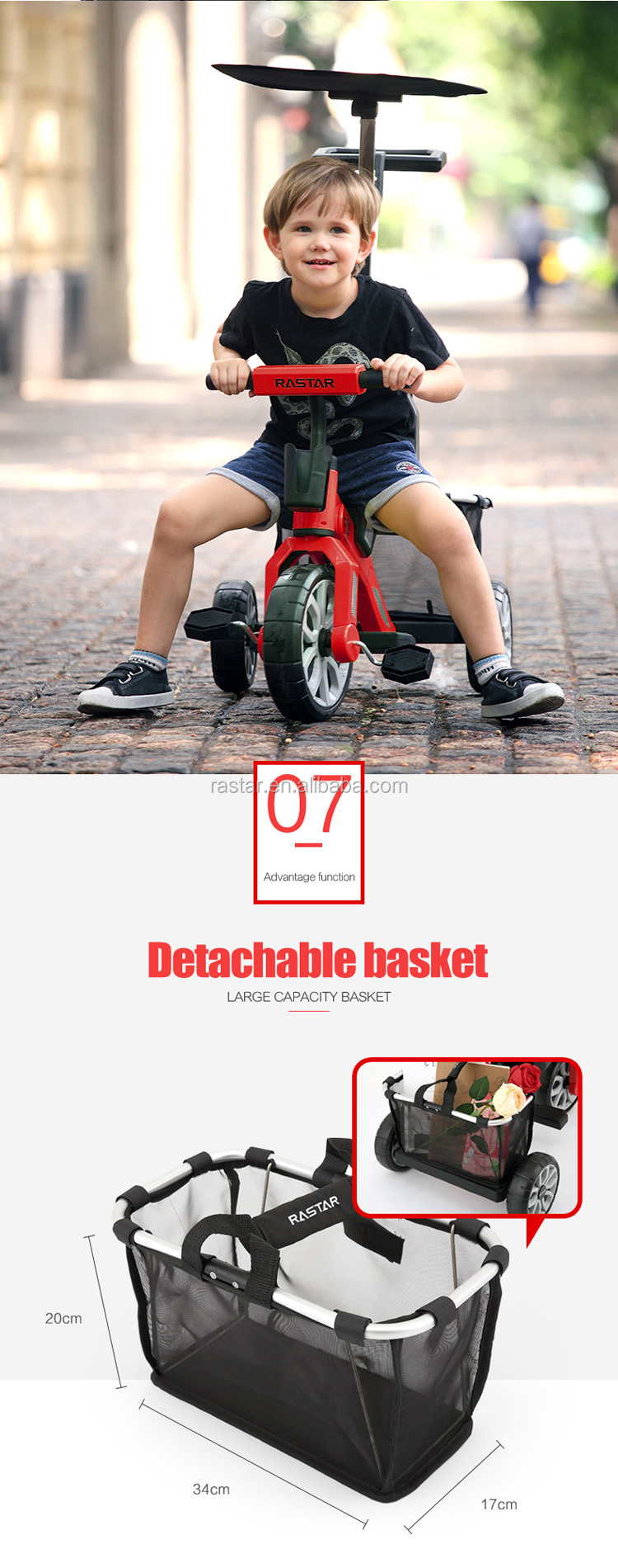 Rastar kid balancing bike with shield and holder kid foldable tricycle