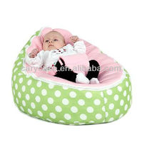 Newest baby beanbag hot selling in the world , green bean bag chair,pink baby seat green polka dots beanbag snuggle bed & sofa