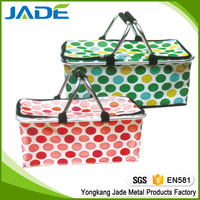Hot sale fashion designers folding shopping basket with cooler bag/cheap new picnic basket