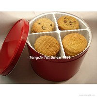 4 compartment cookie/cake metal tin box with lids for portion control
