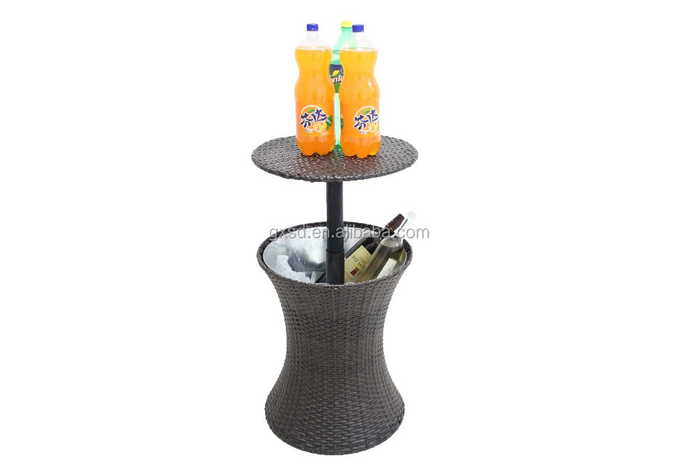 S&D adjustable coffee table ice bucket rattan coolers