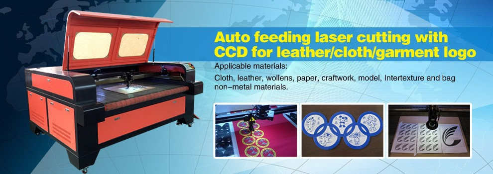 2015 Home fabric logo cutter, laser cutting machine with co2 laser tube 0086-15563539899