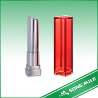 Clear red plastic-aluminum empty lipstick container tube