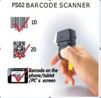FS02 Portable Mini Scanner 1D & 2D/ QR Code Bluetooth Ring Barcode Scanner/ Reader For Large Barcode Data Collection