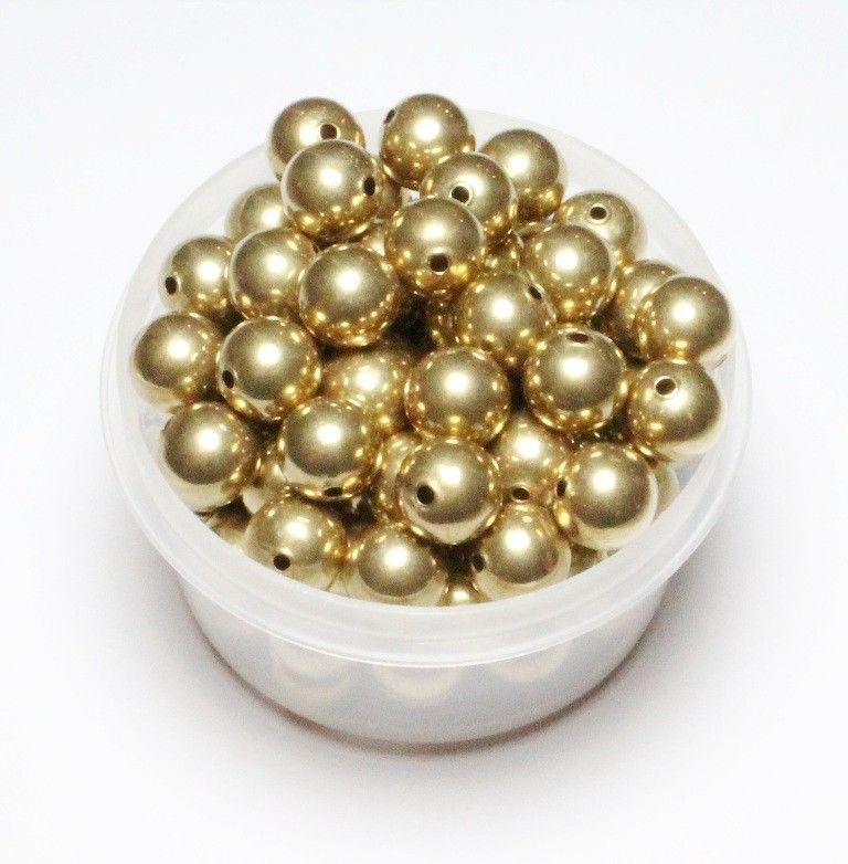 10MM SOLID Smooth BRASS ROUND SEAMLESS HOLLOW BEADS with holes