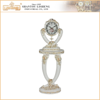 Special wholesale resin material stand antique clock coffee table