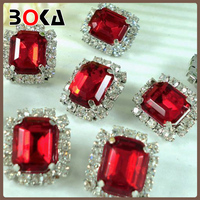 Red Acrylic Polygon Diamond Button Shiny Rhinestone Decoration For Woman Clothing BK-BUT519