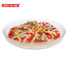 Easy cleaning borosilicate glass oval pizza pan