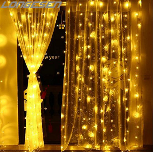 300 LED Window Curtain String Light for Wedding Party Home Garden Bedroom Outdoor Indoor Wall Decorations (White)