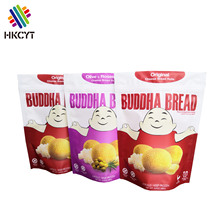 Custom Vivid Printing Stand Up Three-layer Laminated Foil PET Plastic Food Packaging Bag for Bread