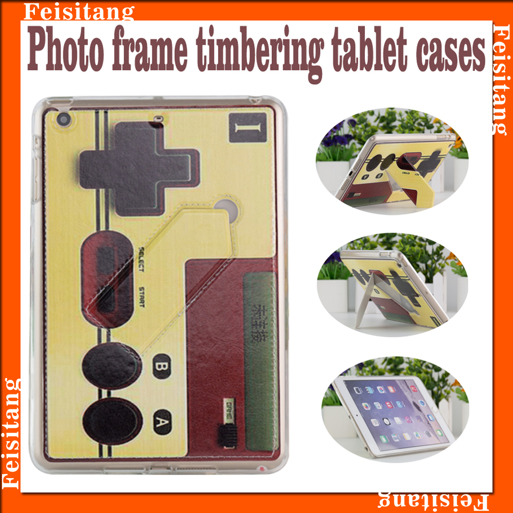 Photo frame timbering tablet case,TPU + PU Cartoon pattern tablet protective case for ipad2/3/4 and ipadair1/2