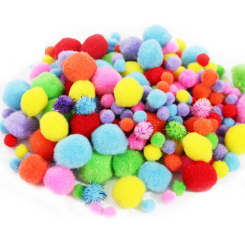 200PCs Mixed Color Size Pom poms Fur Balls DIY Crafts Accessories Pompom For Kids Wedding Home Decoration Round 1.5cm