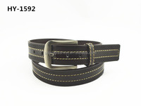 Fashion black PU belts for men with new design stitching