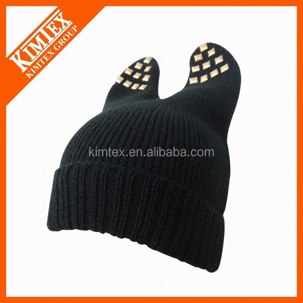 2016 new fashion lovely acrylic knitted ear ladies hat beanie hat