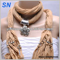 Floral Pattern Embellished charm necklace scarves