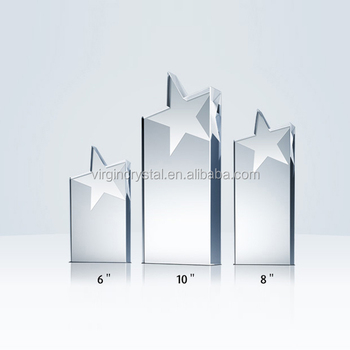 High quality laser engraved blank crystal star trophy plaque achievement award