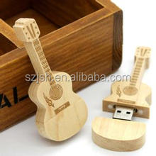 Hot Selling Wedding gift Eco-friendly 4GB 8GB 16GB Wood Guitar Shaped USB Flash Drive Customised Logo Wooden USB Pendrive 32GB