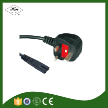 BS1363 standard UK fused plug to IEC C7Appliance Power Cord with British ASTA and Saudi Arabia SASO