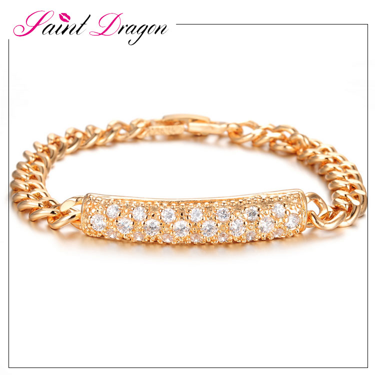 Hot saling dubai luxury Cubic Zirconia inlaid gold plated chain bracelet for women