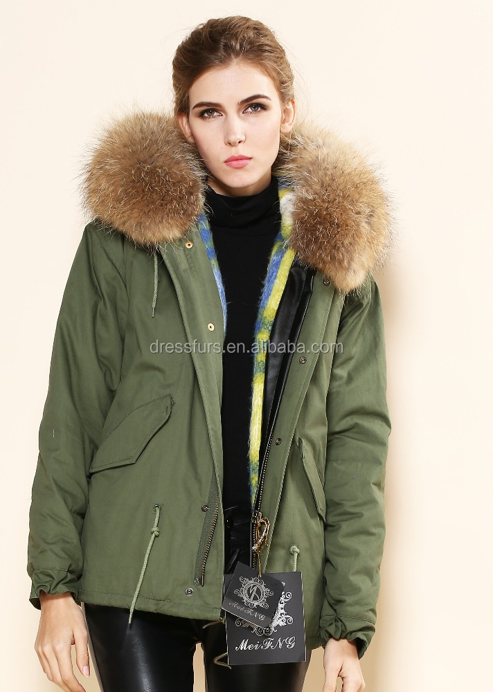 Wholesale women jacket faux fur lining with raccoon fur hooded from women jacket manufacturer by fast shipping