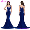 USA Warehouse Delive 2017 Blue Lace Sleeveless Sexy Ladies Long Evening Party Wear Gown