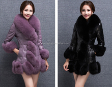 2015 New Style Women Winter Jacket Double Face Sheep Skin Fur Coat With Fox Fur Collar