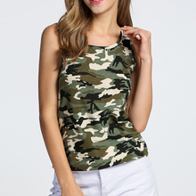 Women Camouflage Slim Army Print Clothes Sleeveless O Neck Casual Vest