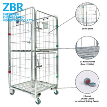 Warehouse Mobile Security Wire Mesh Roll Container Cages