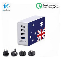 Qualcomm Quick Charge 3.0 Fast Charger 5 Port Usb Multi Portable Mobile Phone Charger World Travel Usb Charger Station