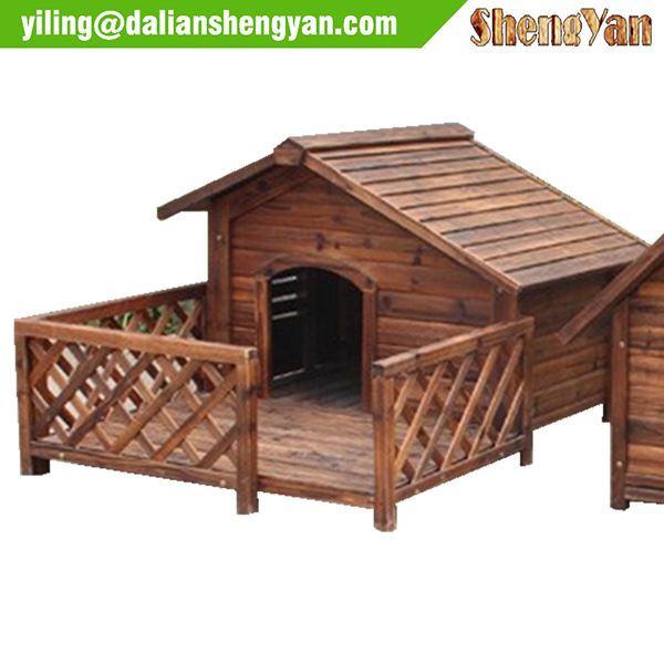 Carbonized treated dog house with balcony