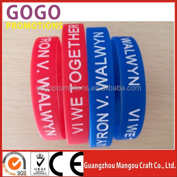 Promotion Cheap Logo Custom Debossed Silicone Wristband, Custom debossed ink filled sports hand band for promotion