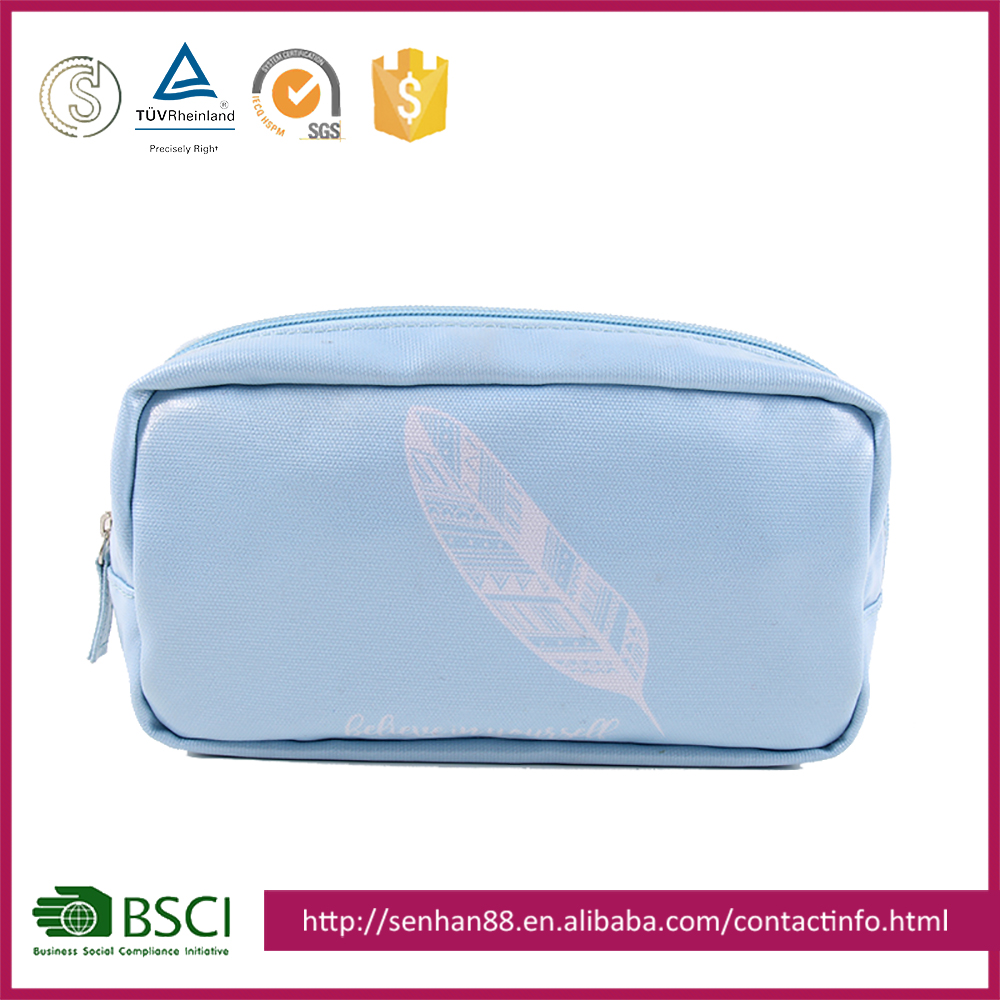 Wholesale blue Support custom logo shine beatiful eco-friendly pvc cosmetic bag