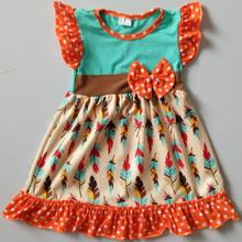 Wholesale New Fall Fashion Dress Clothing Baby Girls Child Turkey Feather Thanksgiving Maxi Dresses