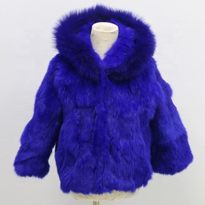 2018 Christmas Promotion new design hood real rabbit fur coat for kids with fox fur