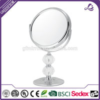 wooden console table with mirror Acrylic double sided stand desktop table makeup mirror made in China