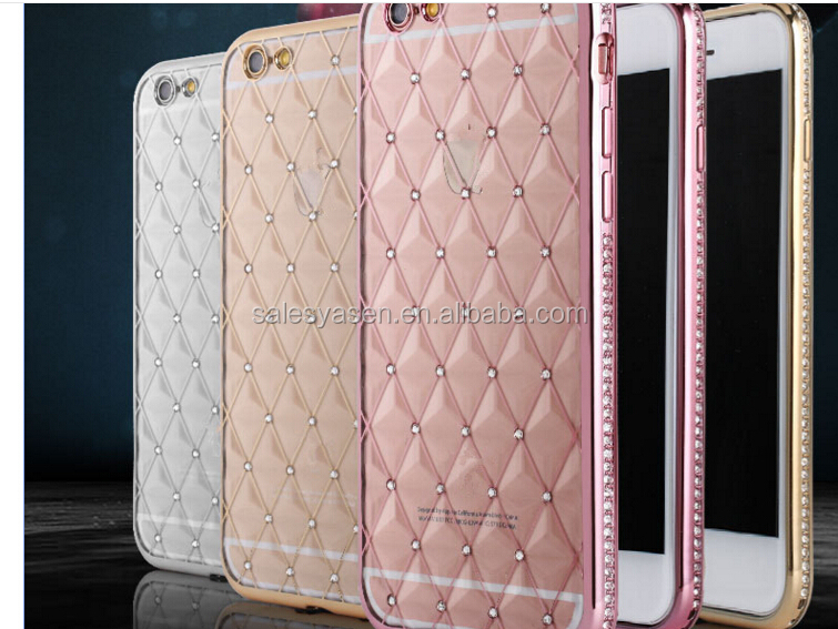 Luxury Clear Bling Diamond Crystal Flower Plating TPU Soft bling Case For iPhone 6 6 plus / 6S / 5s 5