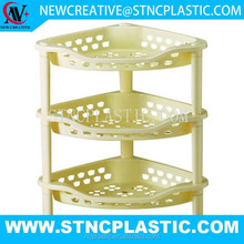 3 tier plastic decorative corner storage shelf