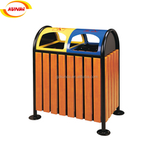 outdoor indoor wpc waste bin metal wood trash can rubbish bin GPX-058
