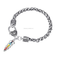 Wholesale 6mm Antique Silver Wheat Chains 7 Crystals Chakra Holy Sword Bracelet