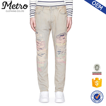 China wholesale back pocket embroidery designs damaged jeans for men