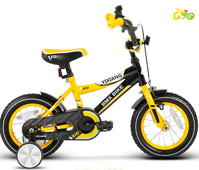 12'' bike finished in black and yellow with safety features fitted