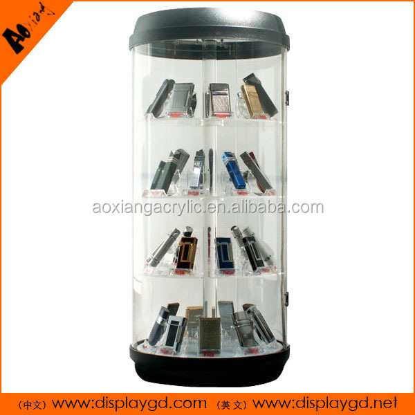 With LED Electric Rotating Showcase Locking Acrylic Display Case For E-cigarette