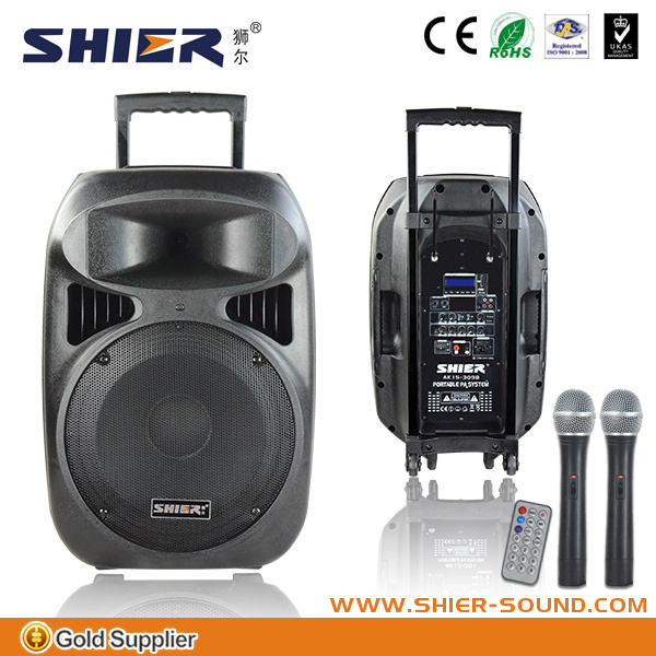 rechargeable portable speaker with15 inch woofer hi-fi multimedia active speaker system