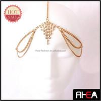women fashion metal side head band forehead jewelry crystal hair chain accessories wedding
