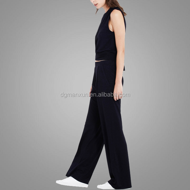 High quality ladies palazzo high waisted wide leg trousers women pants