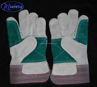 manufacturers reinforced palm SPLIT double palm for heavy duty cheap leather work gloves indonesia