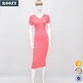 OEM Custom Clothes New arrival fashion Deep-V Pink Lady Dresses